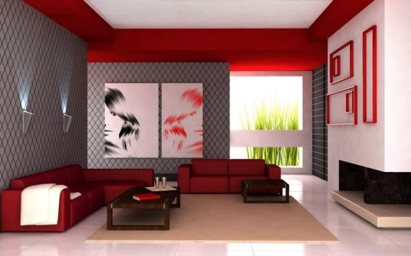 Dnevni boravak u crvenim tonovima  MojStan.net