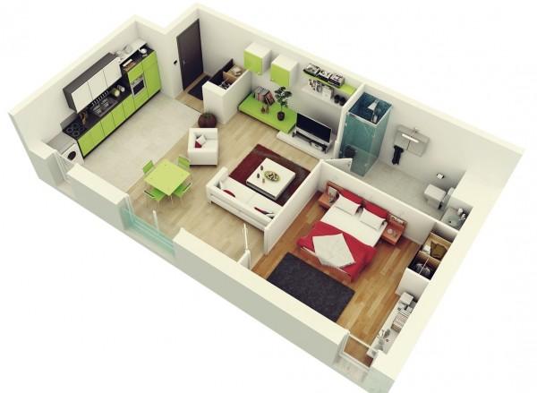 3D tlocrti stanova i kuća sa jednom spavaćom sobom  MojStan.net
