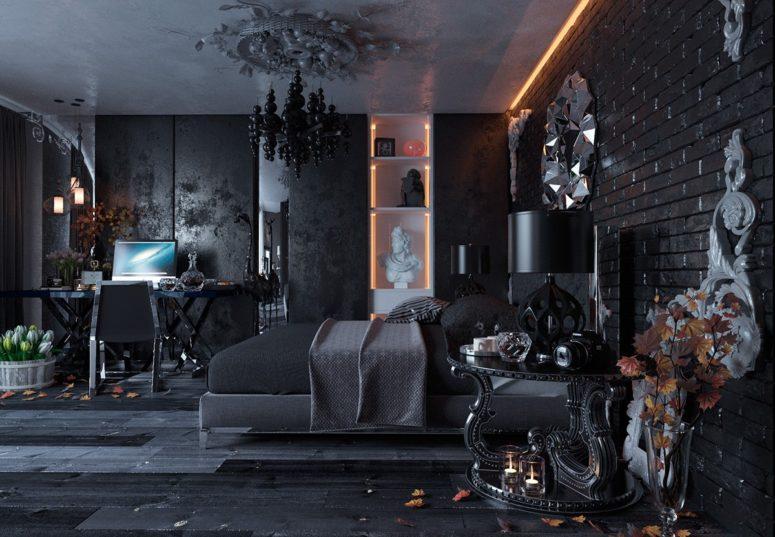 crna spava a soba ure ena u goti kom stilu. Black Bedroom Furniture Sets. Home Design Ideas