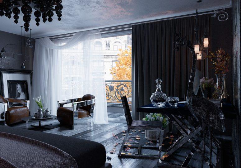 Crna spavaća soba uređena u gotičkom stilu  MojStan.net