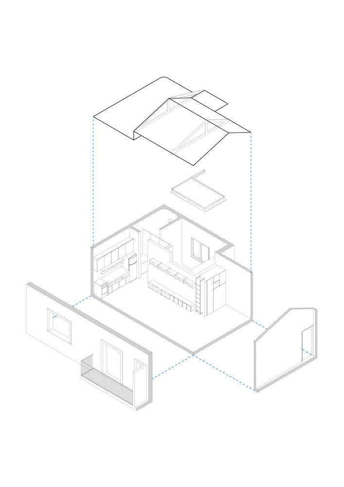 Dodavanjem novog bloka unutar stana stvoren prostor za odvojenu spavaću sobu