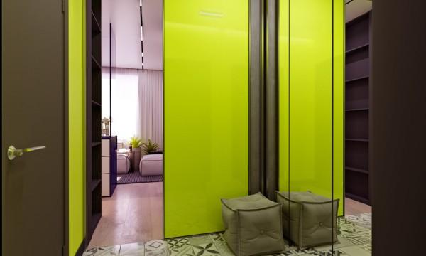 Mali stan sa detaljima u neonskim bojama