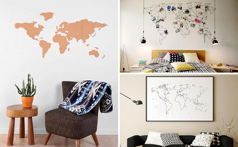 Karta svijeta kao zidna dekoracija
