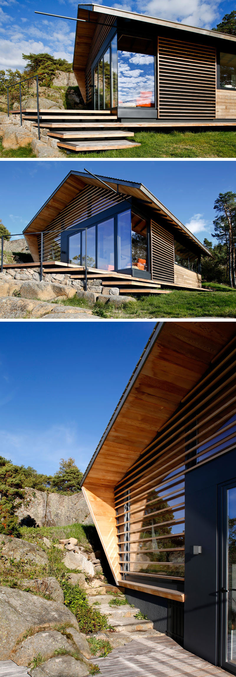 Drvena vikendica na stjenovitoj obali
